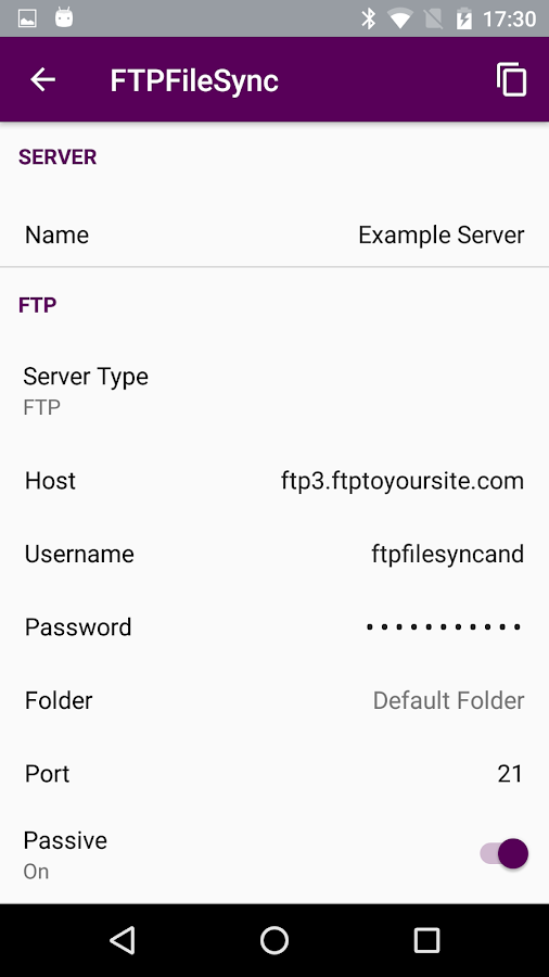 FTPFileSync for Android- screenshot