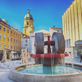 Kobler square by Goran Grudić - Instagram & Mobile iPhone ( koblerov trg, croatia, fountain, rijeka, kvarner, zaljev )