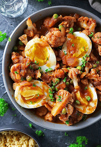 Easy Raspberry Chipotle Cauliflower Curry With Boiled Eggs