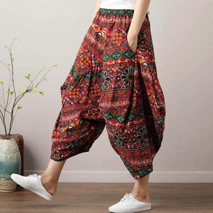 Women Bohemian Harem Pants Boho Chic Print Wide Leg Pants 2019 Summer Big  Size Loose Hippie Trousers|Pants & Capris| - AliExpress