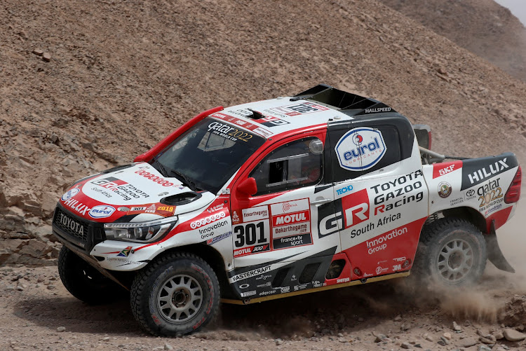 While his team-mates suffered hardships, Nasser Al-Attiyah continued setting the Dakar pace in the SA-built Toyota Hilux. Picture: REUTERS