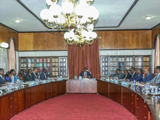 President Uhuru Kenyatta chairs a Cabinet meeting at State House, Nairobi