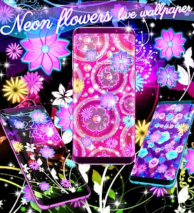Neon flowers live wallpaper - náhled