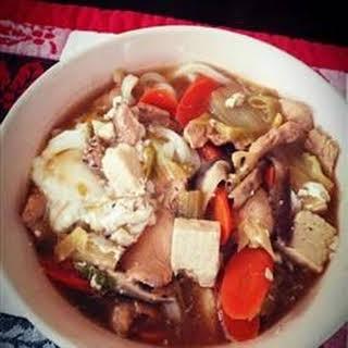 Japanese Nabeyaki Udon Soup.