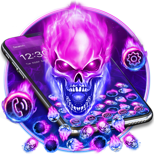 Purple Blue Fire Skull Gravity Theme
