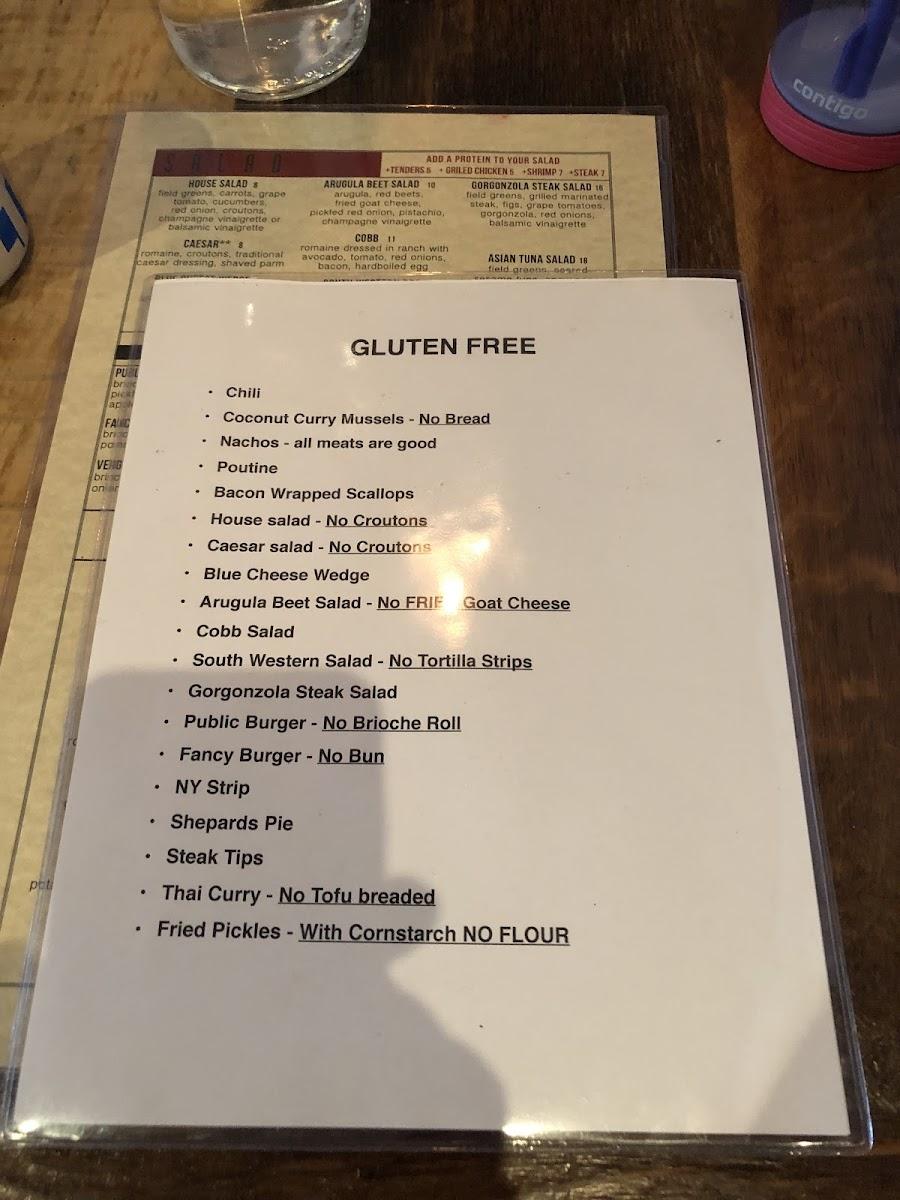 Gluten Free Menu Photo From Public Kitchen