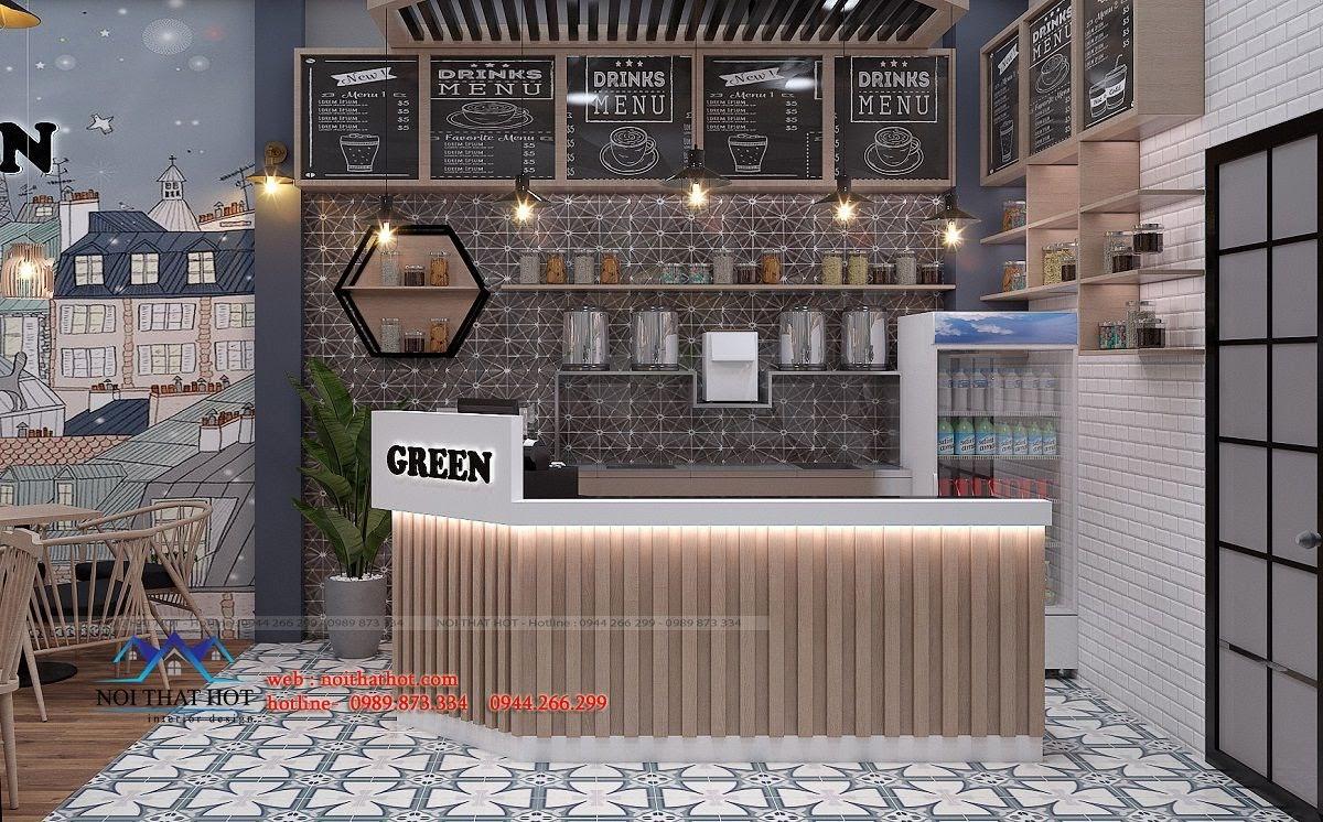 thiết kế quán trà sữa green 9