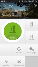 Photo: Phone screen capture of the Back Door showing the door is currently locked. Touching the green icon or pressing the Unlock button will unlock it. The Activity shows the date and time the door was unlocked manually or using the phone.