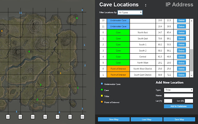 An interactive evolved map for ark survival evolved