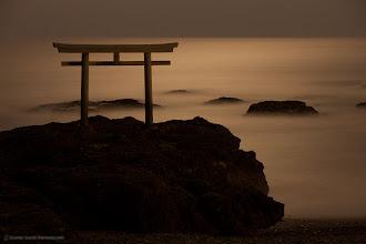 Photo: A moonlit seascape with the Shinto Gate (Torii) at Ooarai, Ibaraki prefecture, Japan.