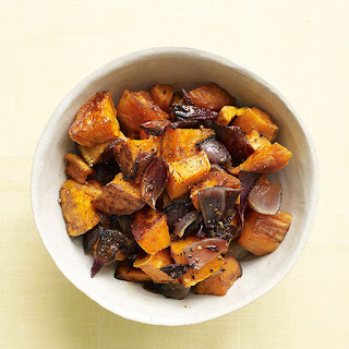 Roasted Sweet Potatoes with Red Onions.