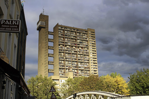 Tall tales: Brutalist architect Erno Goldfinger's Trellick Tower — either loathed or loved by aficionados — overlooks Golborne Road, West London.  Picture: MADELEINE MORROW