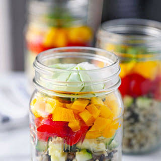 Creamy Avocado And Wild Rice Salad In A Jar.