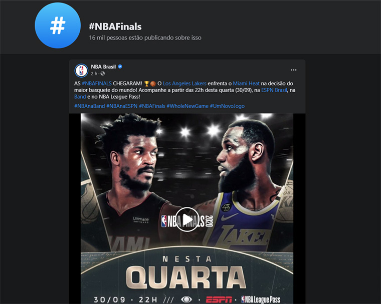 feed da hashtag #nbafinals no facebook