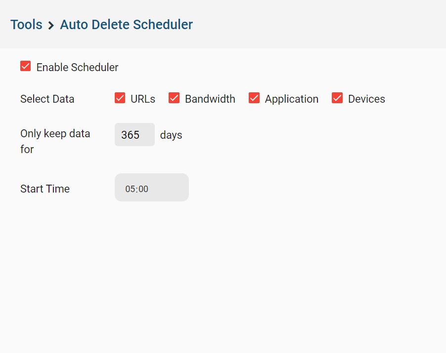 CurrentWare auto delete scheduler with checkboxes for URLs, applications, bandwidth, and device data