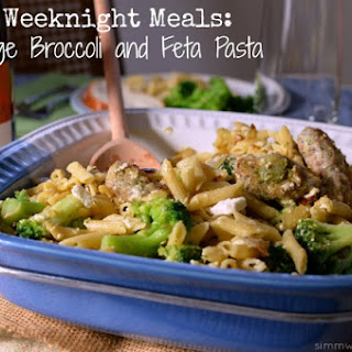 Sausage Broccoli and Feta Pasta.