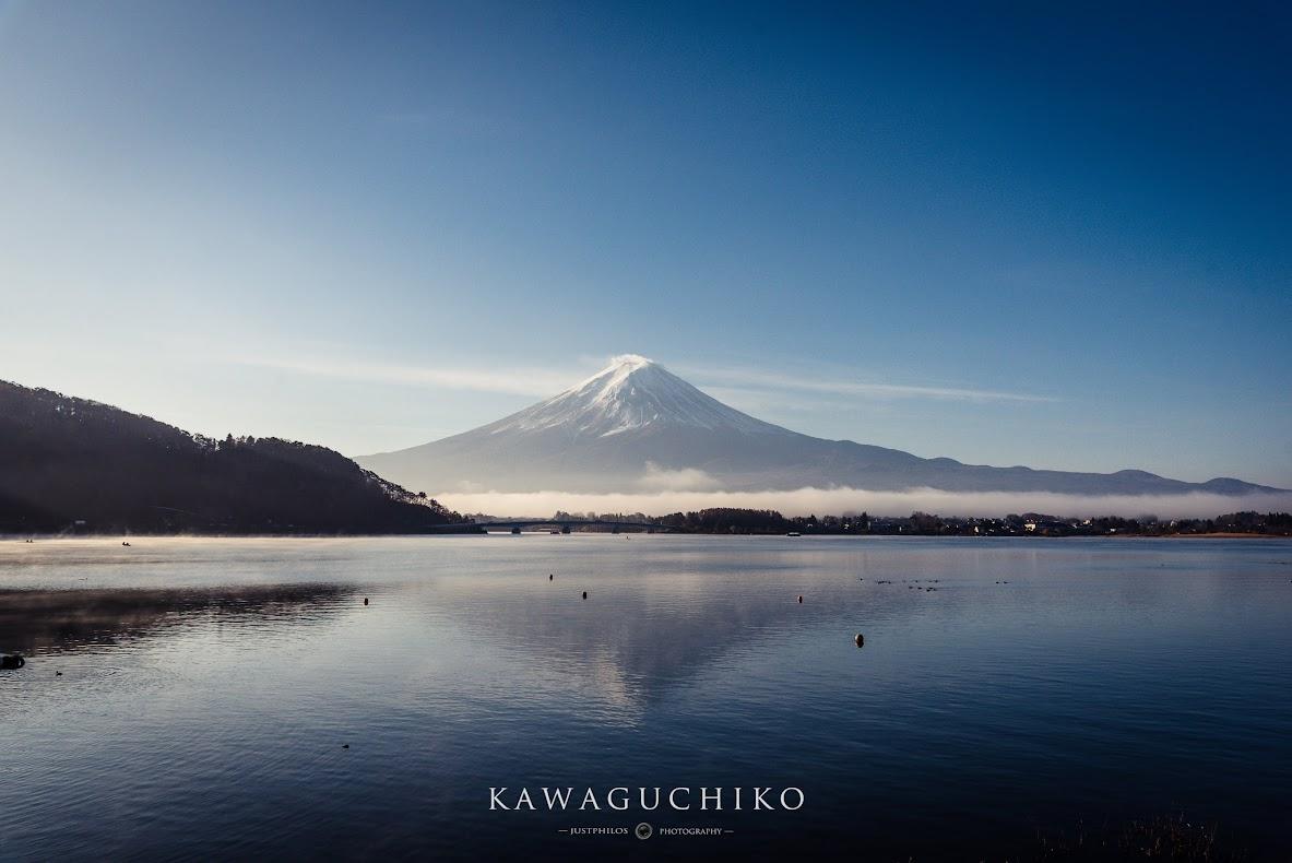 富士山河口湖逆富士。