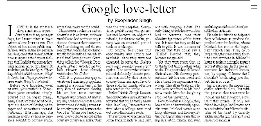 Google love-letter, a middle published on Valentines Day 2011