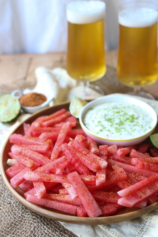 Water melon fries served with dip and ice cold beers.