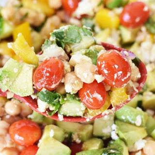 Chick Pea Avocado Salad with Feta.