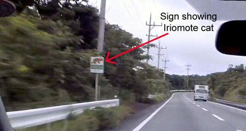 roadside sign warning of Iriomote cat on the island of Iriomote
