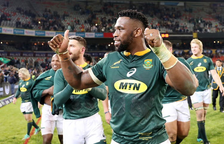 Siya Kolisi of South Africa celebrates with fans during the international rugby match between South Africa and England at the Free State Stadium, Bloemfontein on 16 June 2018.