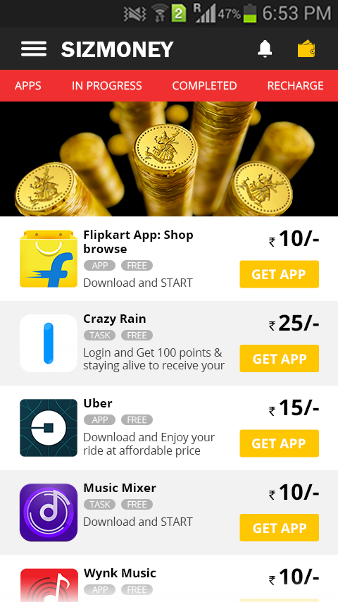 SIZMONEY- Earn Free Recharge, Data or Money- screenshot