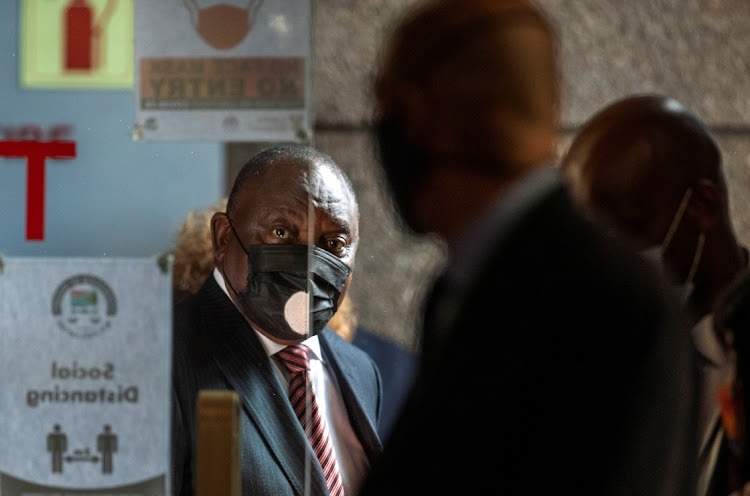 President Cyril Ramaphosa arrives to testify before the Zondo commission of inquiry into state capture in Johannesburg on April 28 2021. Picture: REUTERS/THEMBA HADEBE
