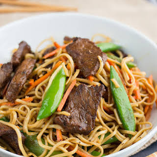 Red Thai Curry Stir Fried Chinese Noodles with Beef.