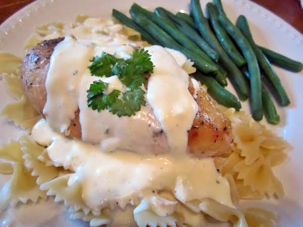 Here I Have Thickened The Sauce Separately As I Wanted To Serve Dinner Sooner Than Anticipated.  I Placed The Chicken On Top Of Pasta And Poured The Cream Cheese Sauce On Top.  :-)