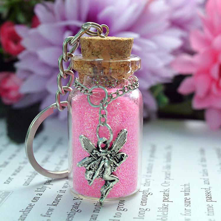 Pink Fairy Dust Keychain by Swirls & Splashes