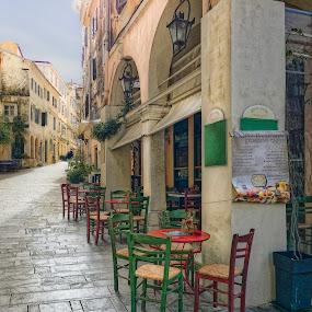 by Nikos Diavatis - City,  Street & Park  Street Scenes ( greece, corfu, cafe, kerkyra, kafenio )