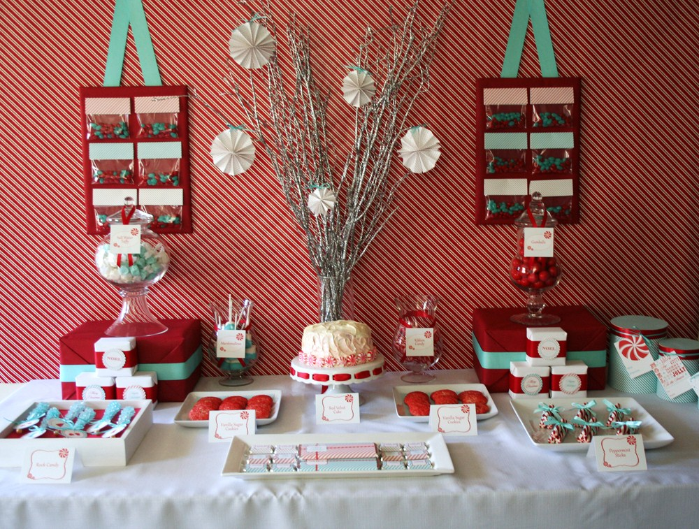 Red and Aqua Holiday Dessert Table