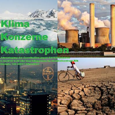 Kollage aus 4 Bildern: Schmelzende Gletscher, Kohlekraftwerk, Bayer Leverkusen, Vertrocknetes Land. «Klima Konzerne Katastrophen. Jahrestagung …».
