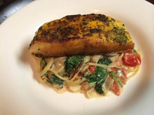 "Herb Crusted Salmon with Pasta Florentine ""This dish was absolutely divine! Oh..."