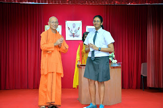 Photo: Miss Ragini Gurumurthy (O level) receiving the Award from Swamiji