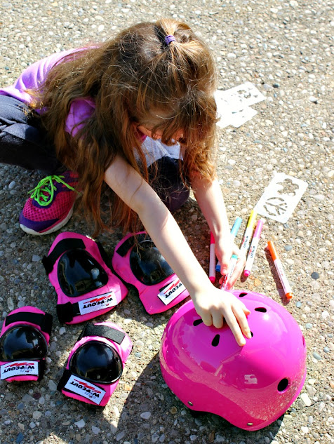Match your outfit or that day's mood with Wipeout's Dry Erase kids bike safety gear