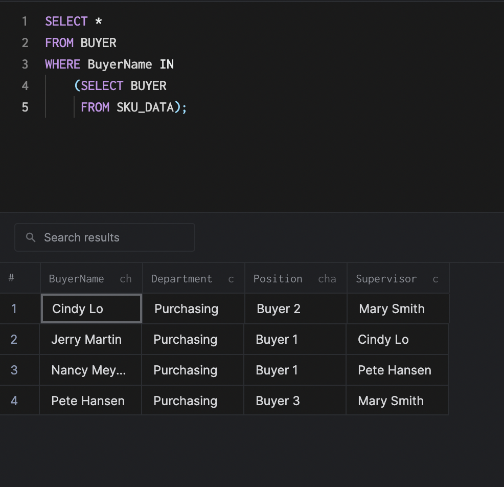 arctype select subquery results view