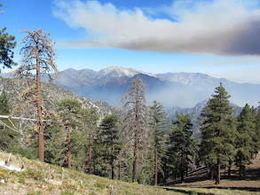 Photo: View east toward Mt. Baldy being stalked by smoke an hour and 20 minutes after the fire started