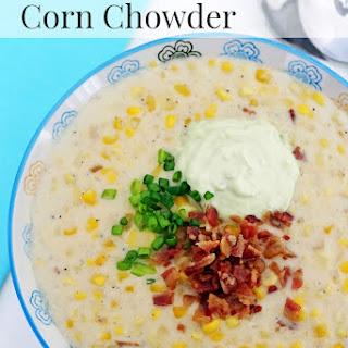 Corn Chowder with Bacon & Avocado Cream