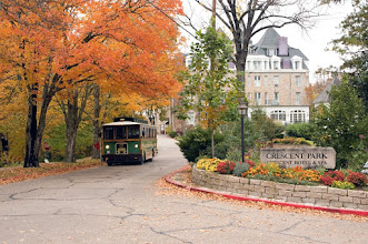 Photo: Both the city trolley and hiking trails surround this Historic Hotel of America to give guests an up close and personal look at the beautiful fall foliage of the Arkansas Ozarks, Eureka Springs and the 1886 Crescent Hotel & Spa.