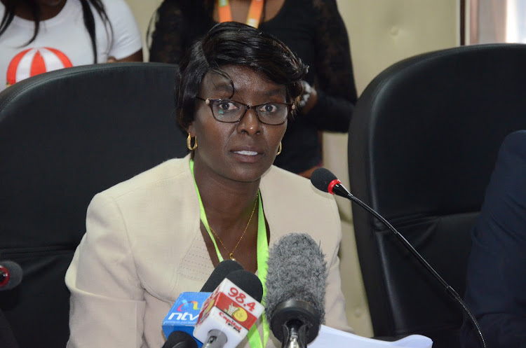 EBC returning officer Beatrice Muli during tribunal hearing of his case Jubilee aspirant McDonald Mariga at at IEBC headquarters,Nairobi. September 13th 2019./Douglas Okiddy