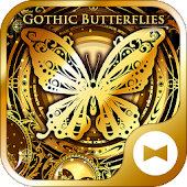 Gold Wallpaper Gothic Butterflies Theme
