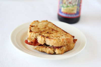 photo of a Beer Bread Grilled Cheese Sandwich on a plate