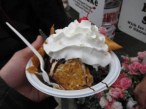 mexican fried ice cream topped with whipped cream