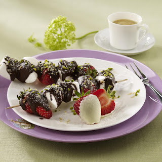 Chocolate-Covered Marshmallow and Strawberry Skewers