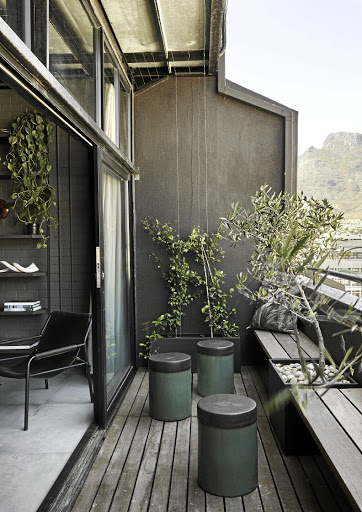 'I love sitting on the balcony with its olive trees and jasmine creeper looking out across the city towards Table Mountain,' says homeowner Kim Smith.