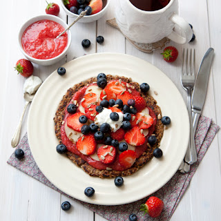 Oat Pancake With Fruit And Strawberry Jam