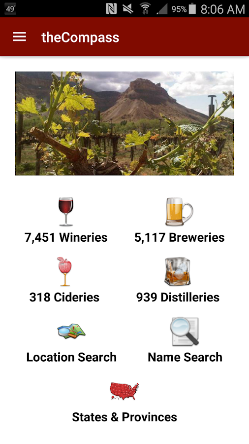 theCompass Winery Brewery App- screenshot