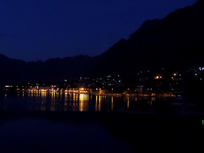 Photo: That evening we enjoyed the lights and their reflection on the Bay of Boca.  Tourism is now their biggest industry - 340 cruise ships will visit Kotor this year.